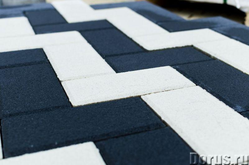 Тротуарная вибропрессованная плитка Прямоугольник, Белый,Черный, BRAER - Материалы для строительства..., фото 2