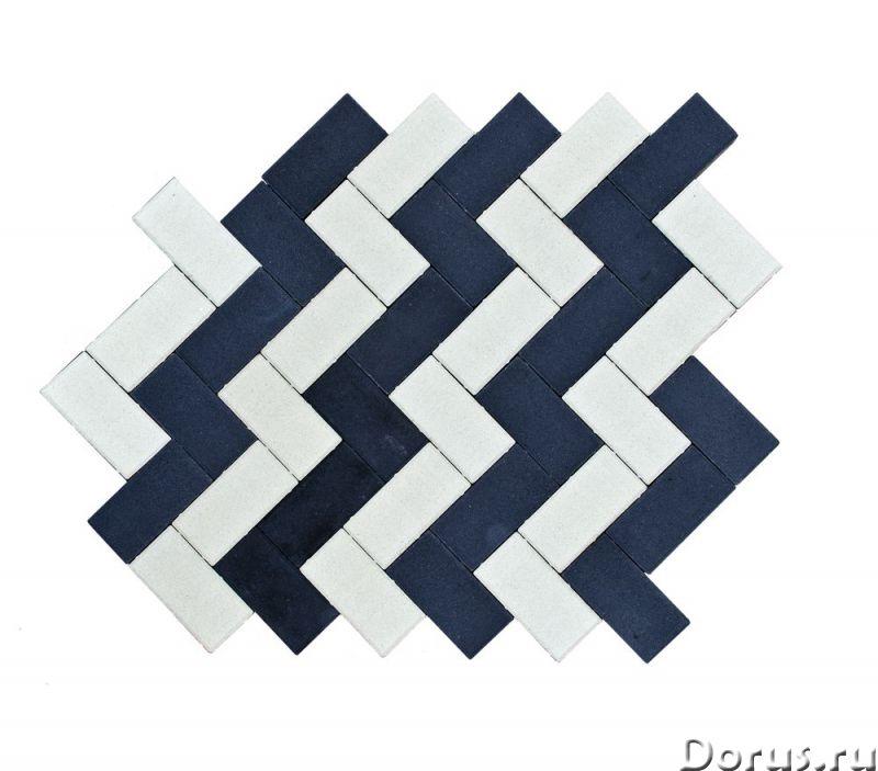 Тротуарная вибропрессованная плитка Прямоугольник, Белый,Черный, BRAER - Материалы для строительства..., фото 3
